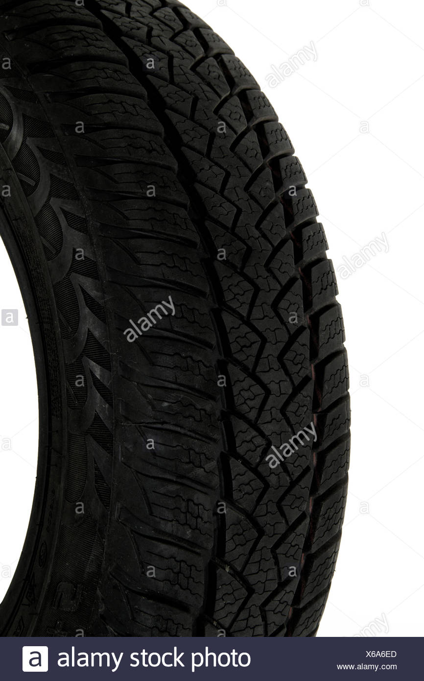 A fragment of the tire tread, isolated on a white background - Stock Image