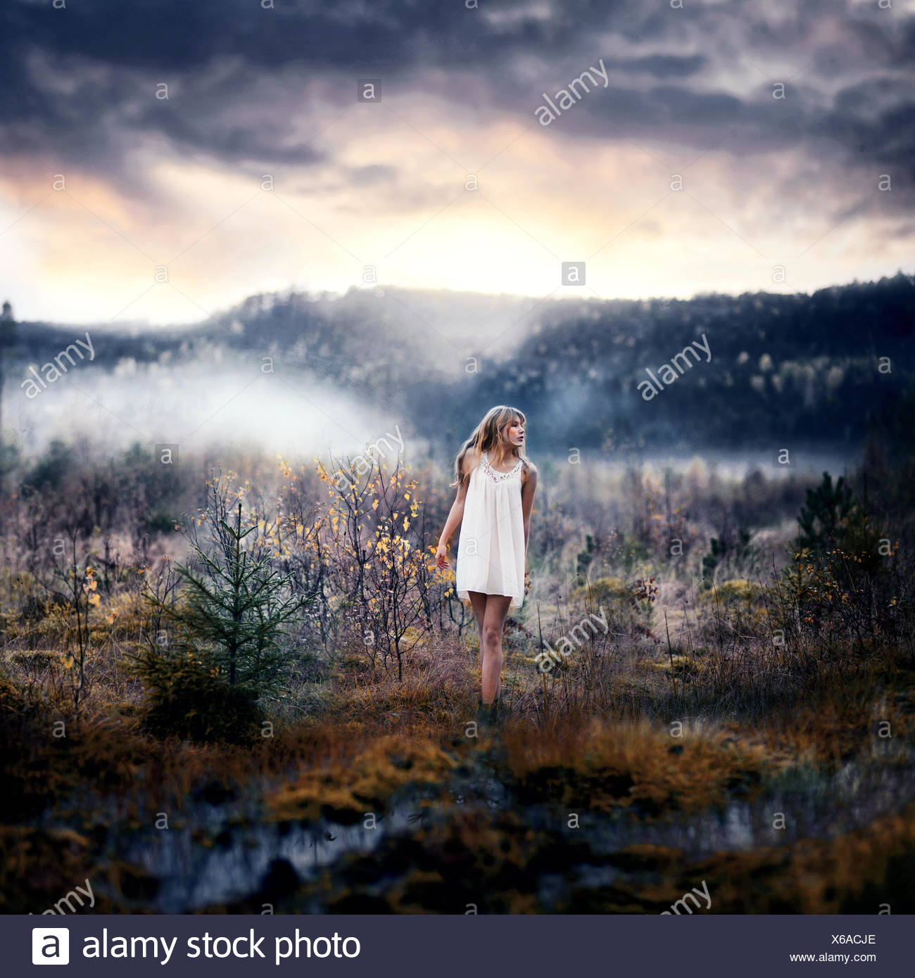 Woman standing in rural landscape - Stock Image