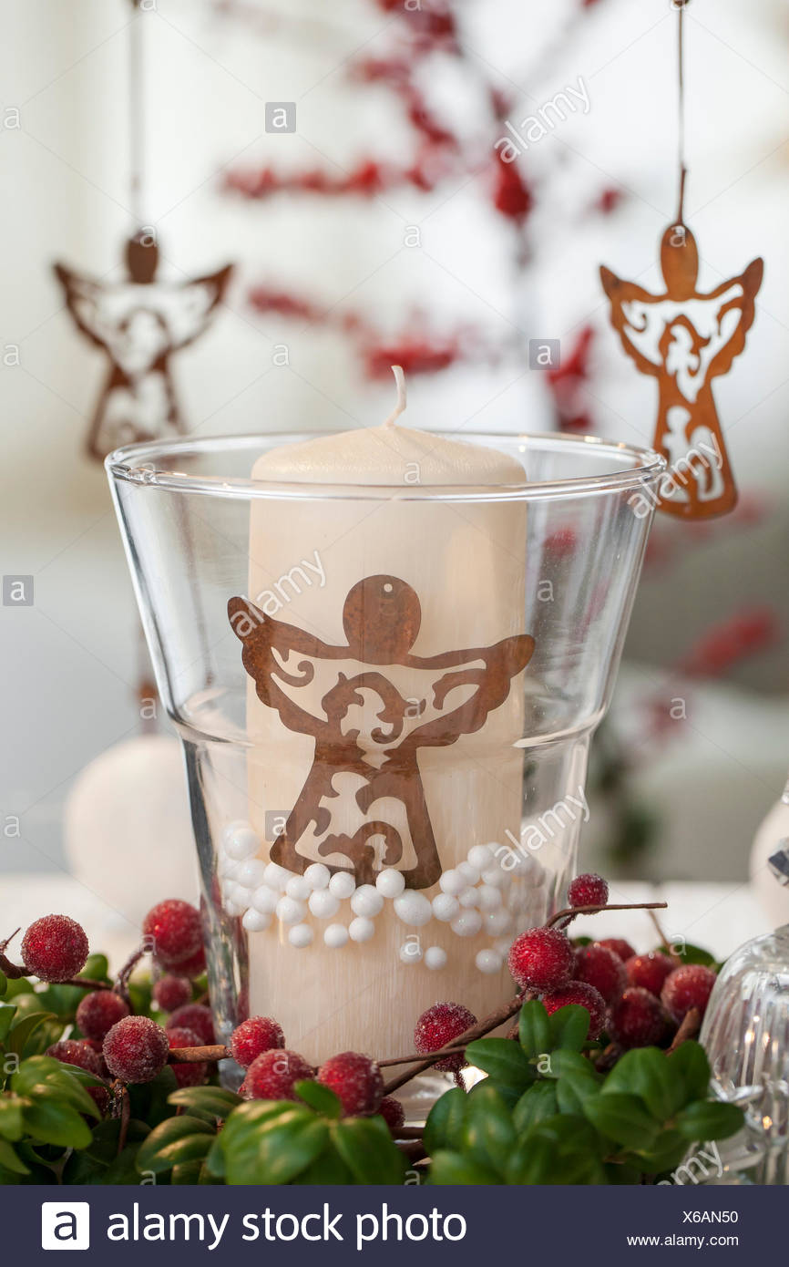 Material Candle Polystyrene Beads Buxus Glass Christmas