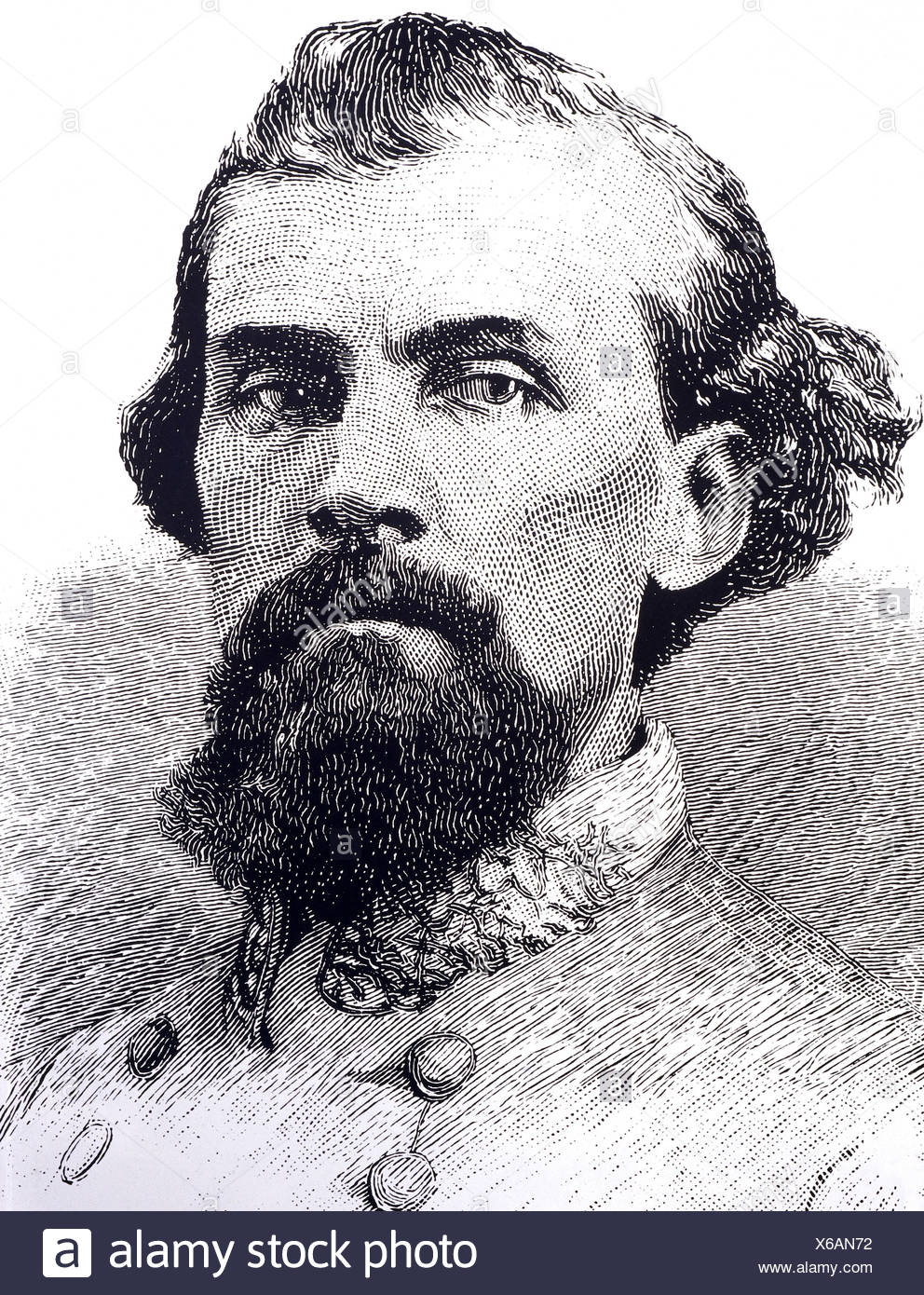 Forrest, Nathan Bedford, 13.7.1821 - 29.10.1877, American general (Confederate Army), founder of the Ku Klux Klan (1865), portrait, contemporaneous wood engraving, Additional-Rights-Clearances-NA - Stock Image