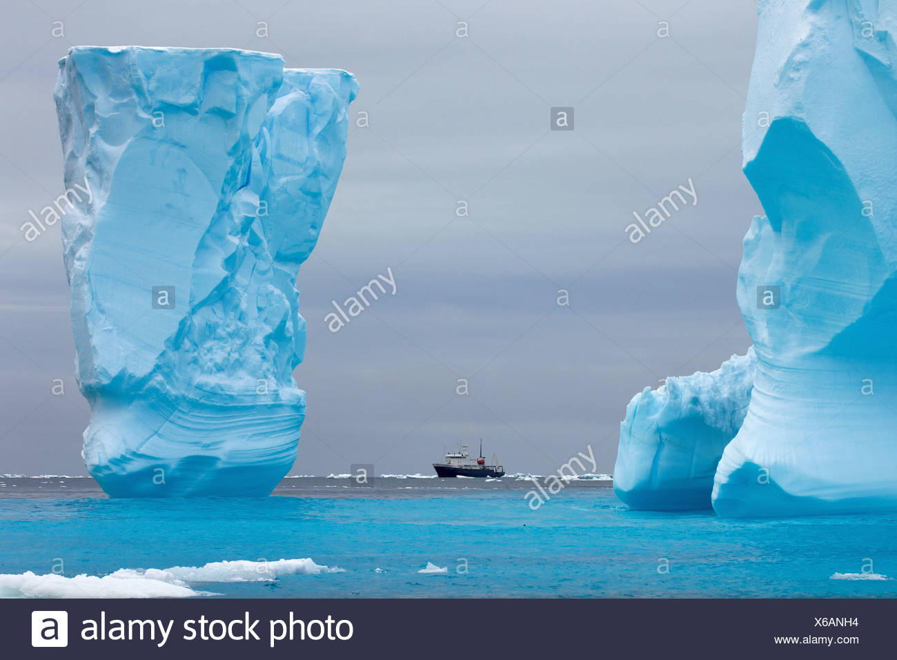 Adventure research ship Spirit of Enderby amongst ice bergs in the ice floe in the southern ocean - Stock Image
