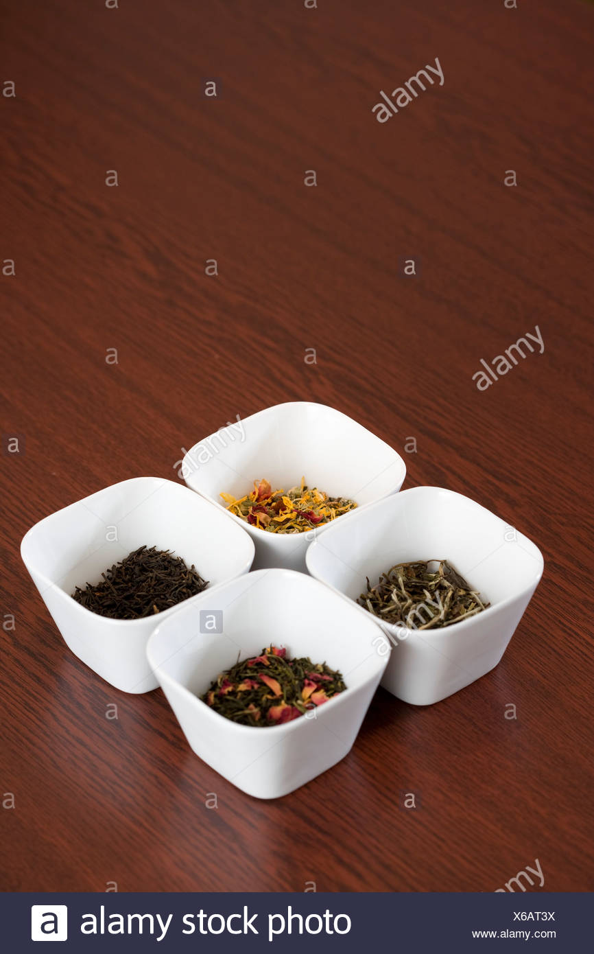 Four frames with tea - Stock Image