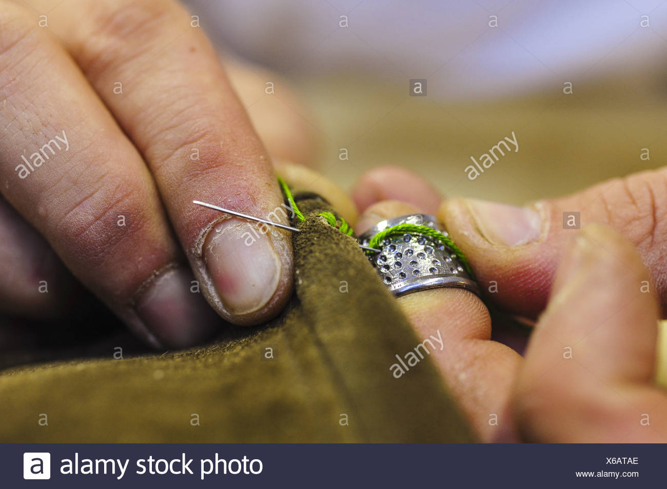 production, leather trousers, Austria - Stock Image