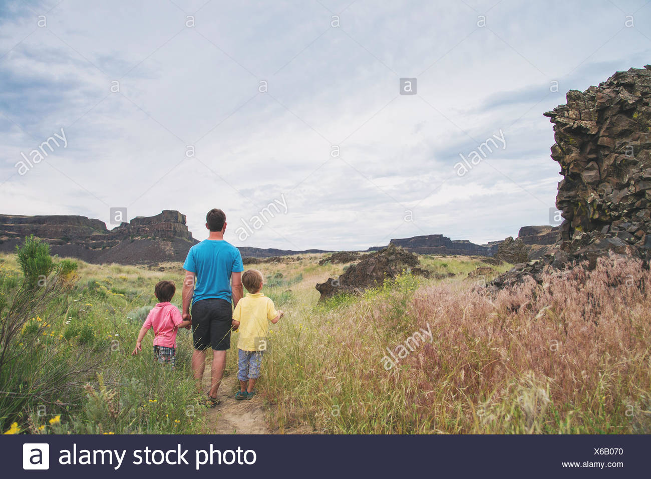 Rear view of father walking with two sons - Stock Image