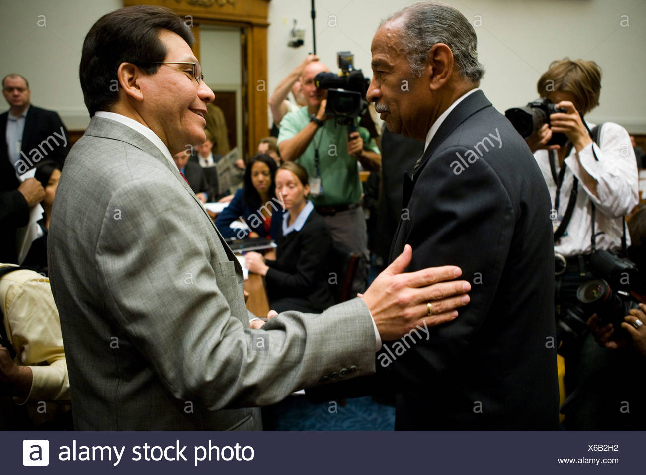 Attorney General Alberto Gonzales testifies in front of the House Judiciary Committee about the firing of eight U.S. Attorneys - Stock Image