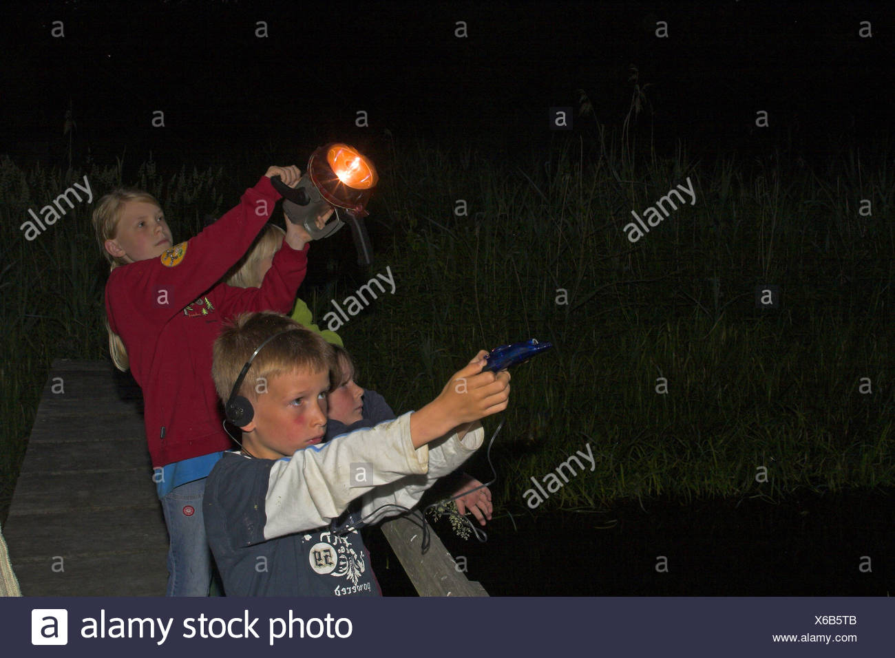 children on a bat-excursion at night, with pocket lamp and bat-detector - Stock Image