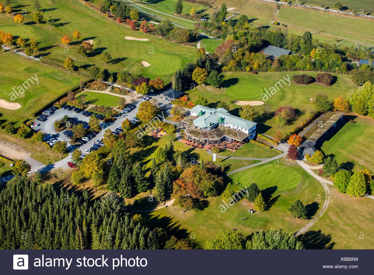Golfclub Schmallenberg with clubhouse, aerial view, Bad Fredeburg, Schmallenberg, Hochsauerlandkreis, North Rhine-Westphalia - Stock Image