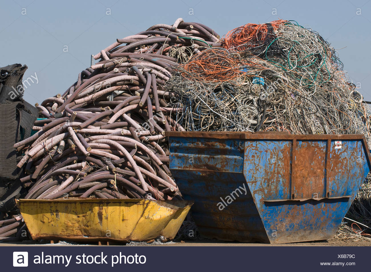 Metal recycling, containers filled with cable waste - Stock Image