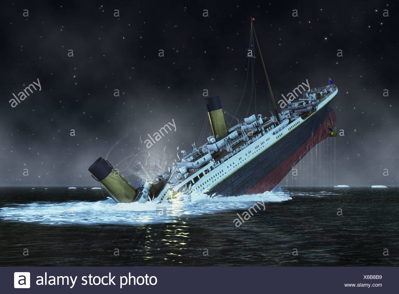 The bow of the Titanic plunges into the North Atlantic Ocean. - Stock Image