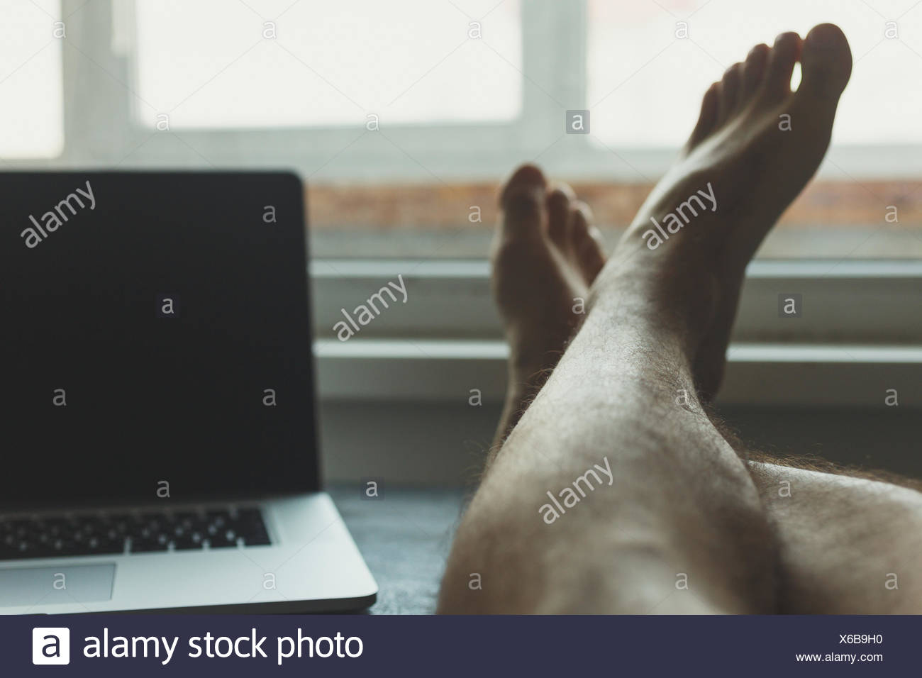Man took a break from work - Stock Image
