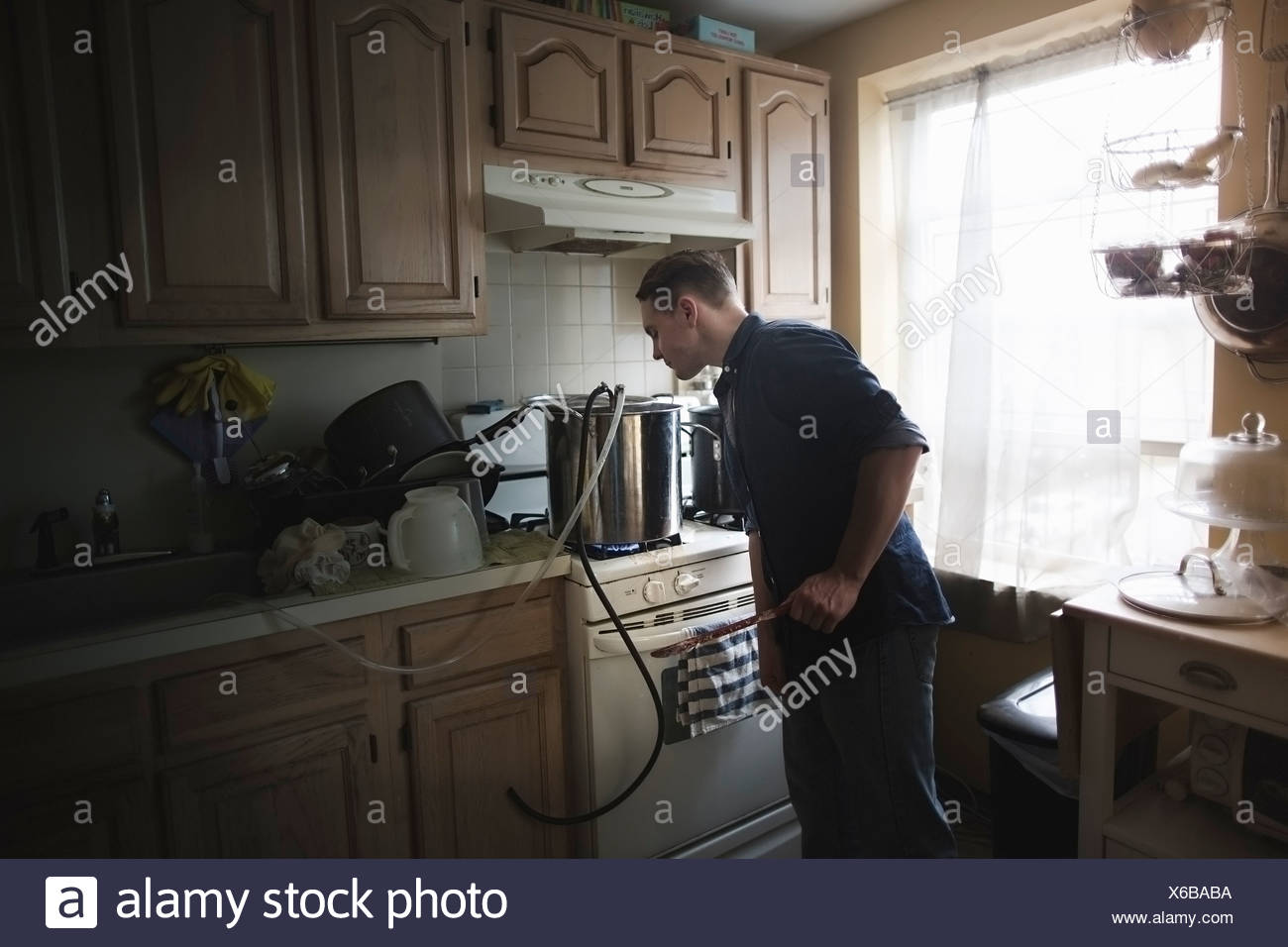 Mid adult man checking cooling tubes for home brew beer - Stock Image
