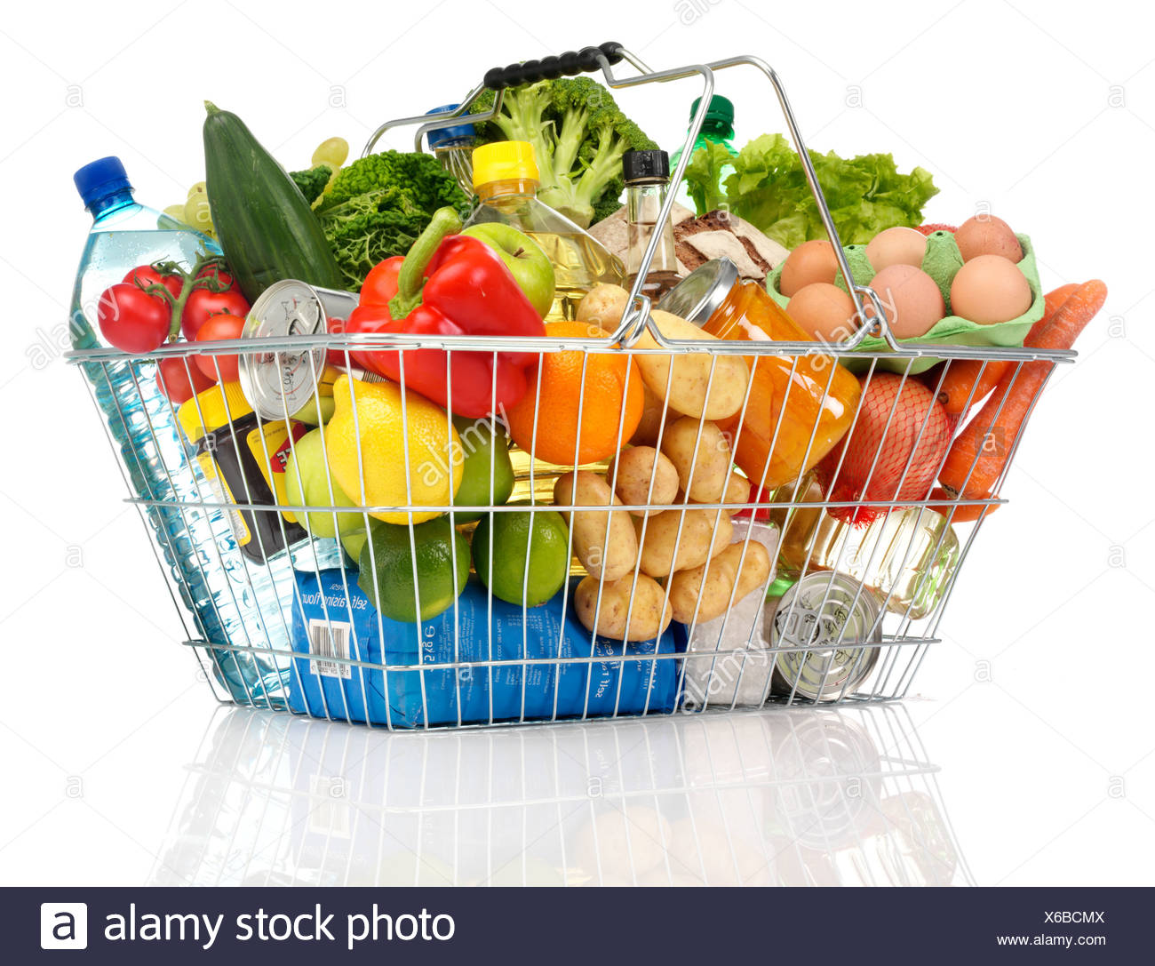 GROCERIES IN SHOPPING BASKET - Stock Image