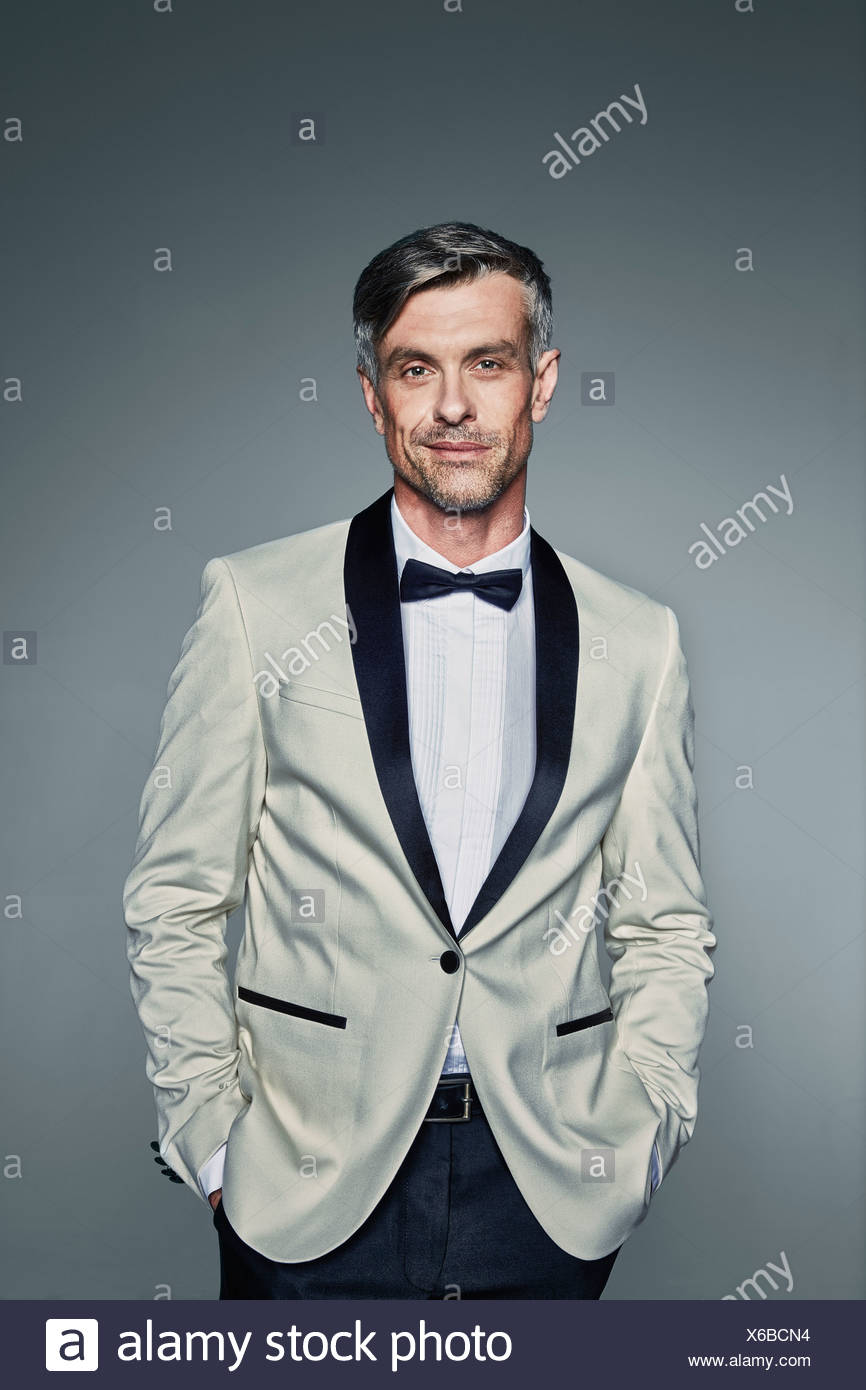 Man in two-toned tuxedo - Stock Image