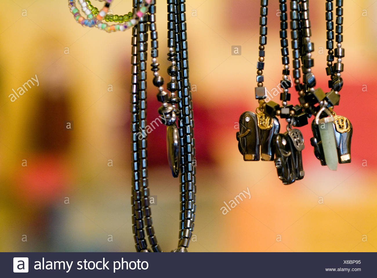 Close-up of Voodoo necklaces - Stock Image