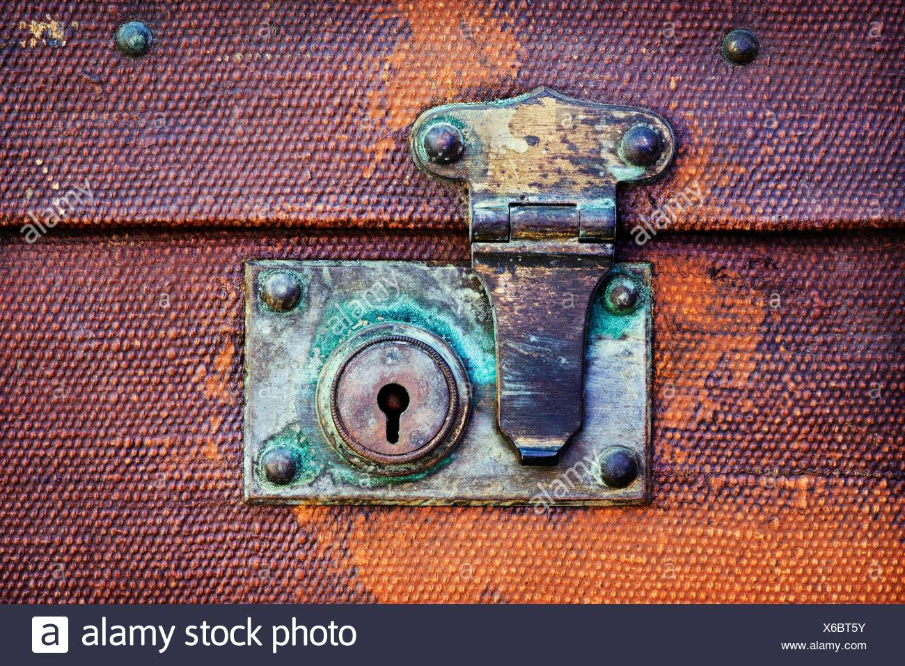 Vintage suitcase lock and fastener close up - Stock Image