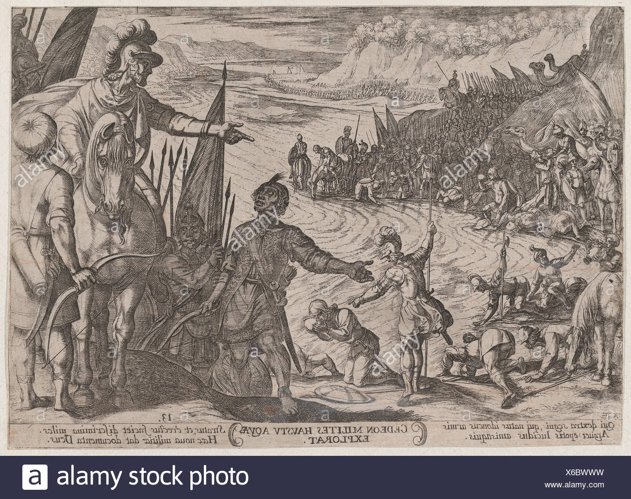 Plate 13: Gideon Choosing his Soldiers, from 'The Battles of the Old Testament'. Artist: Antonio Tempesta (Italian, Florence 1555-1630 Rome); - Stock Image