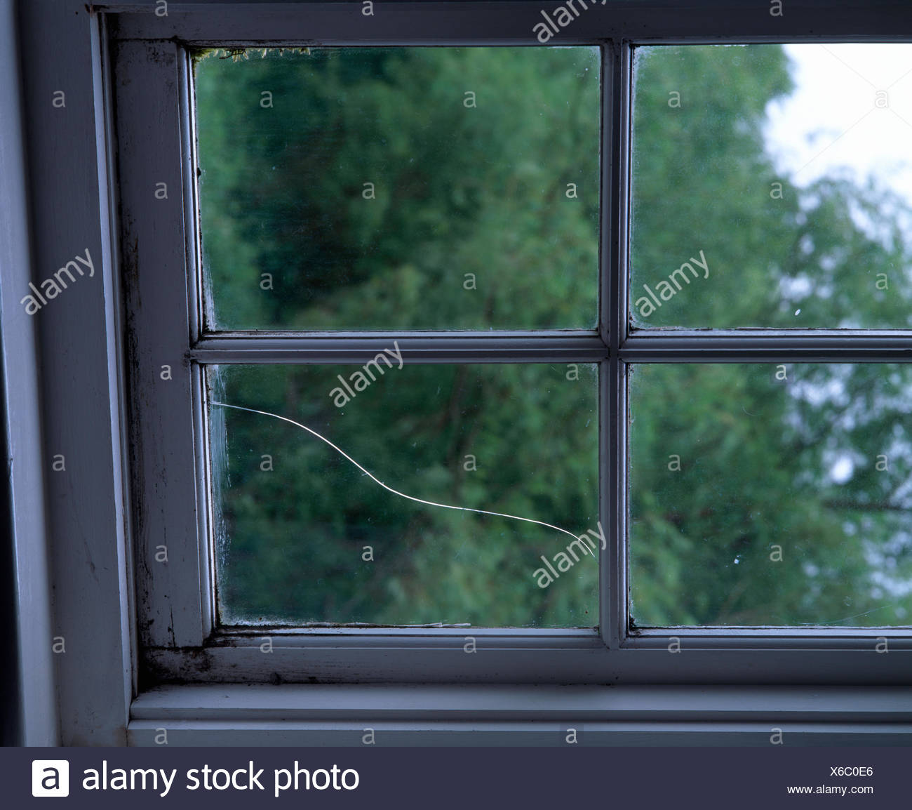 Close-up of a window with a cracked glass pane - Stock Image