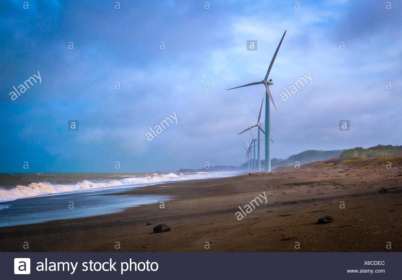 Philippines, Ilocos Norte, Laoag, Picture of wind turbines - Stock Image