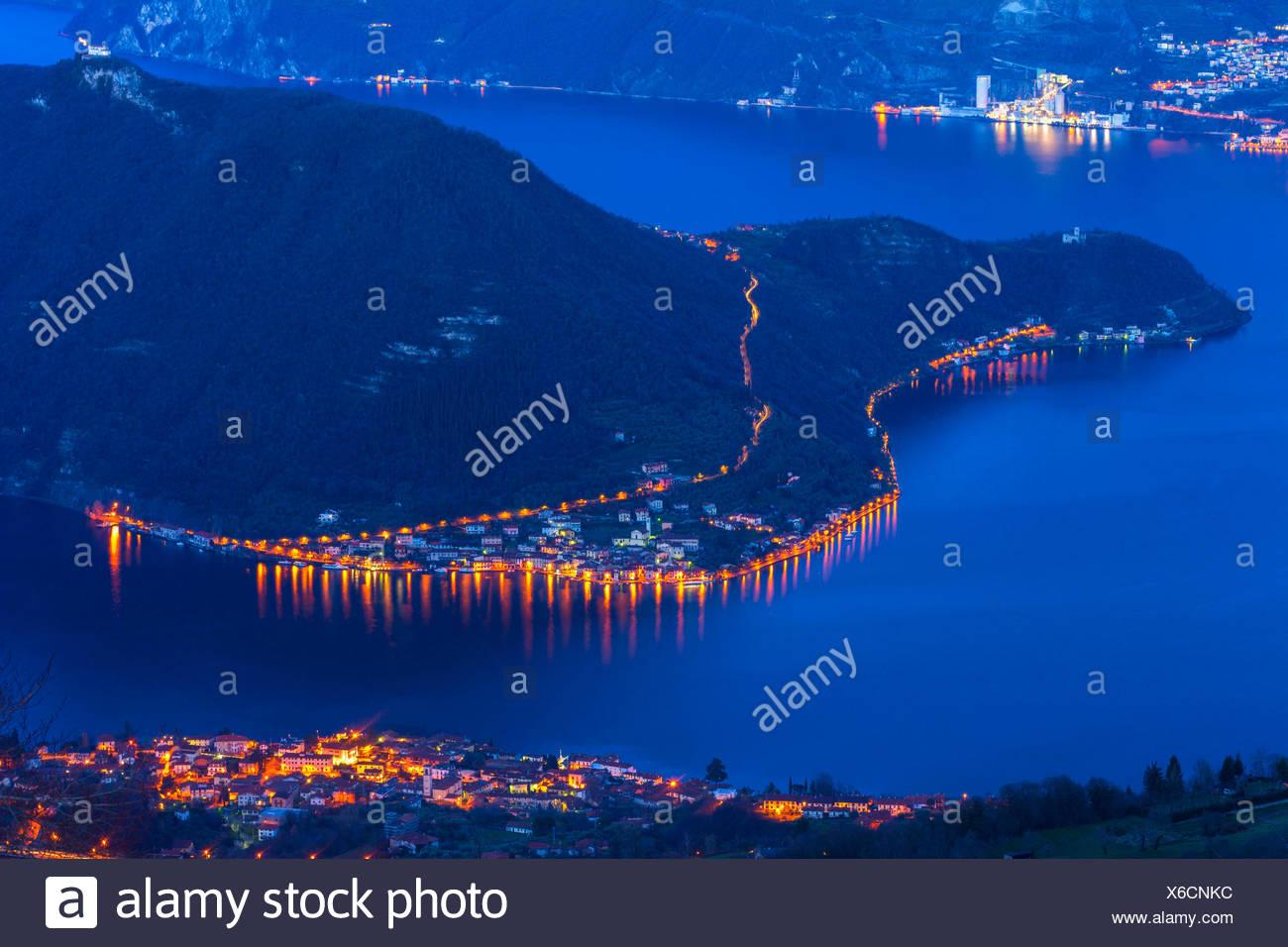 Peschiera Maraglio, blue hour, Montisola, province of Brescia, Italy - Stock Image