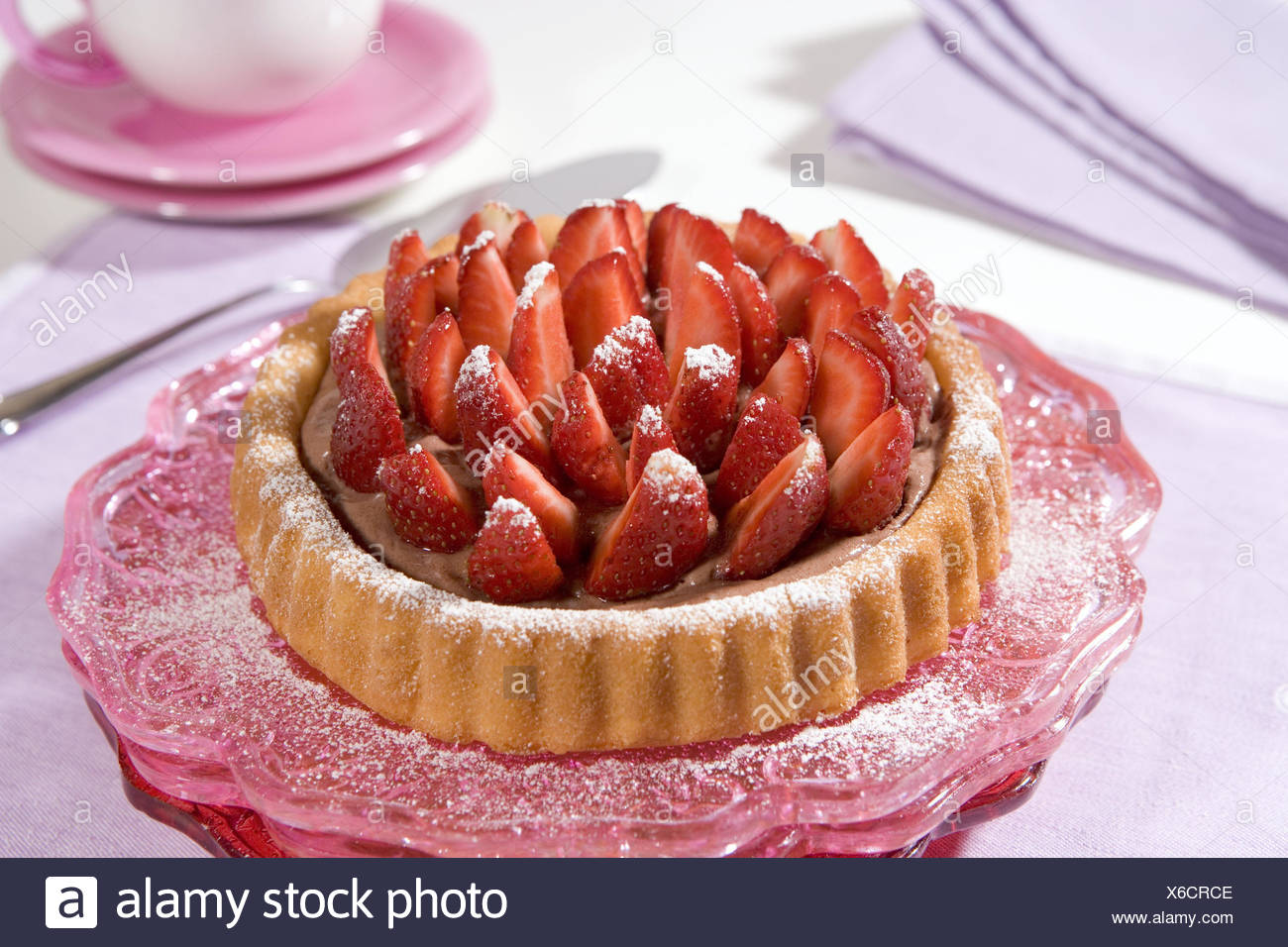 Strawberry tartlets, freshly, ingredients, strawberries, fruit, mixing dough floor, icing sugar, pudding, chocolate, strawberry tartlet, sweetly, sweetness, sweet, Food, - Stock Image