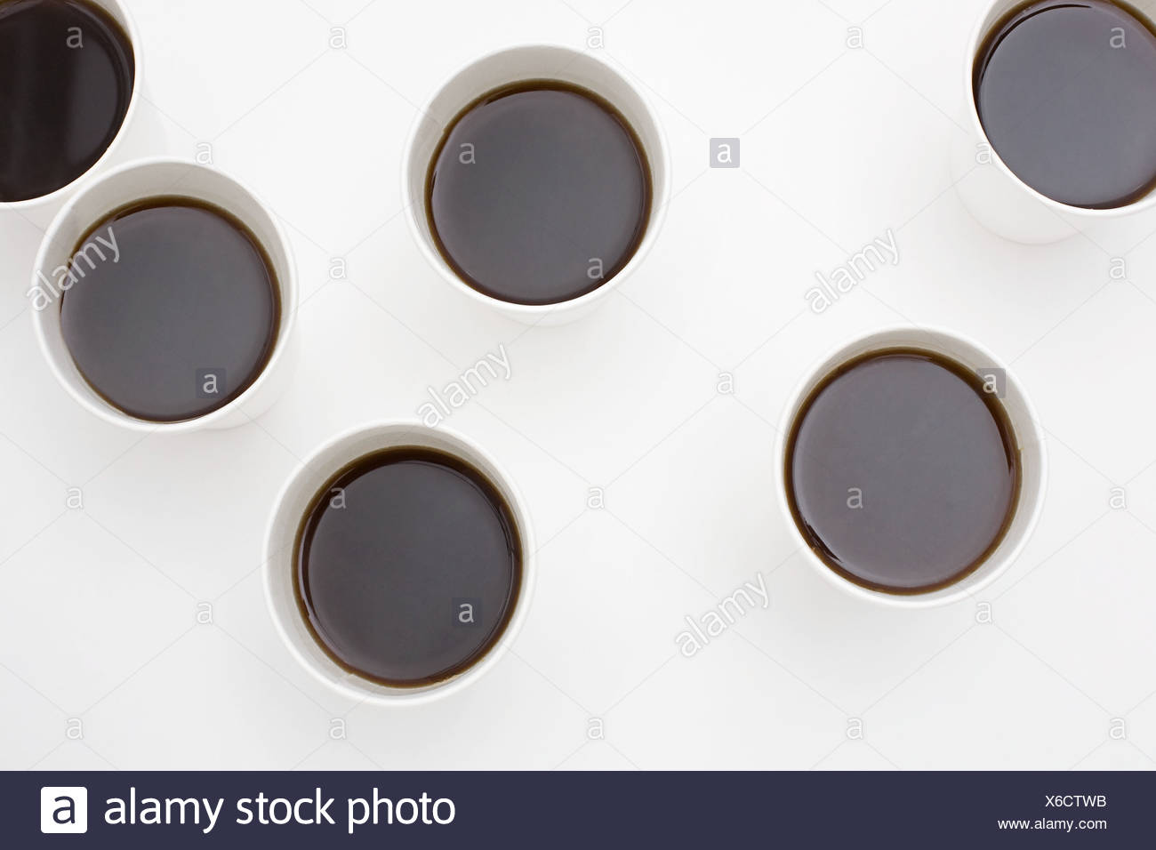 Six cups of coffee - Stock Image
