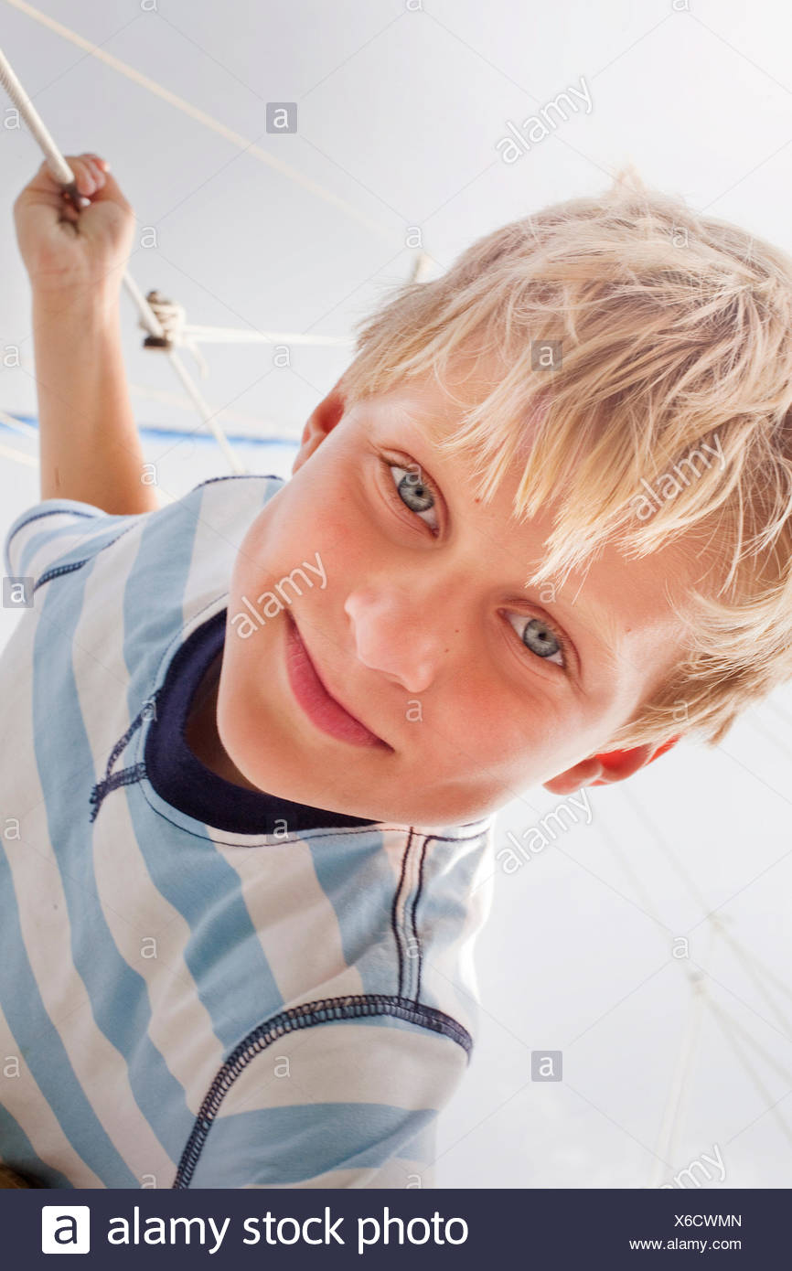 Portrait of boy on sailboat Stock Photo