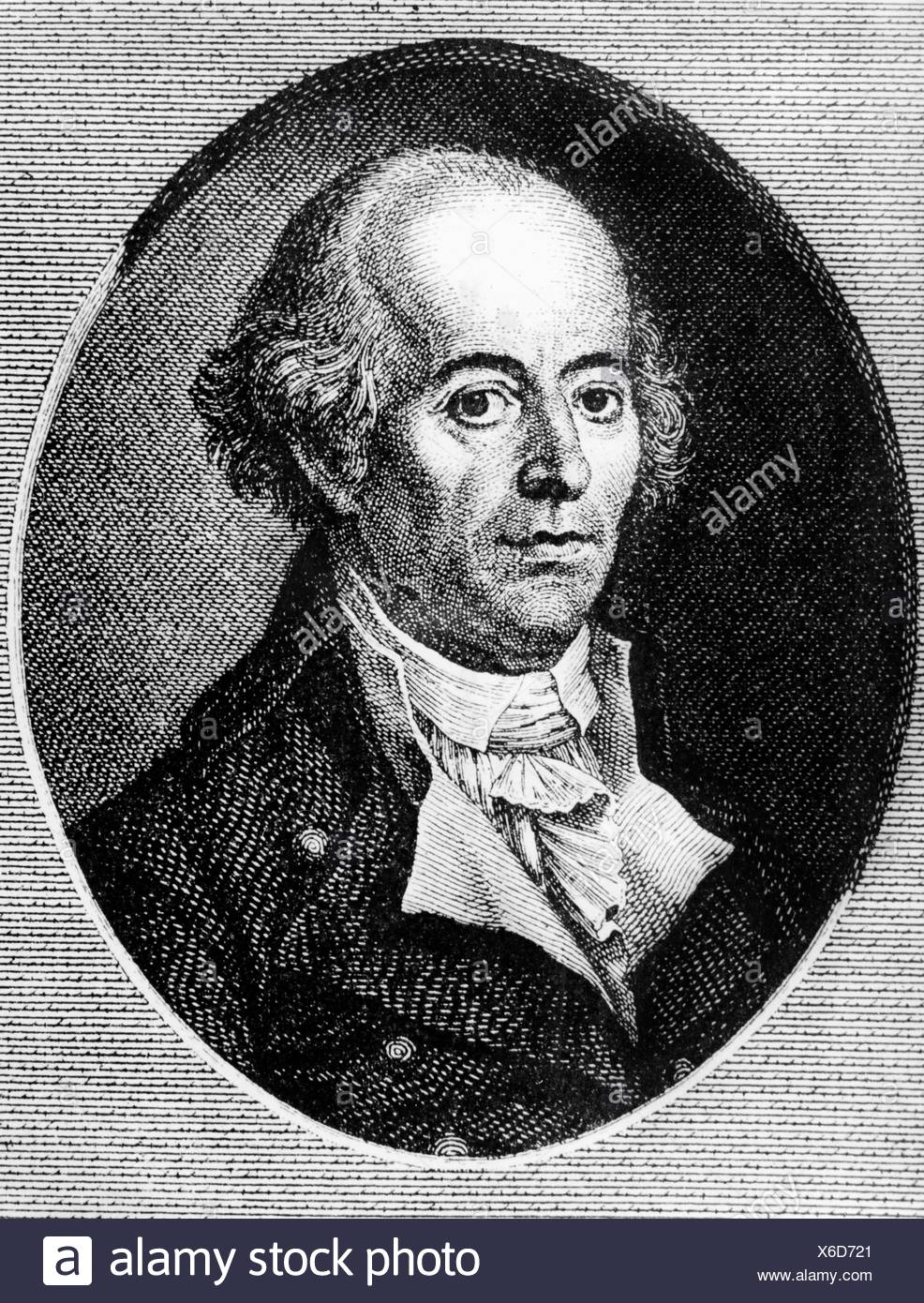 Jung-Stilling, Johann Heinrich, 12.9.1740 - 2.4.1817, German author / writer, portrait, profile, copper engraving, Artist's Copyright has not to be cleared - Stock Image