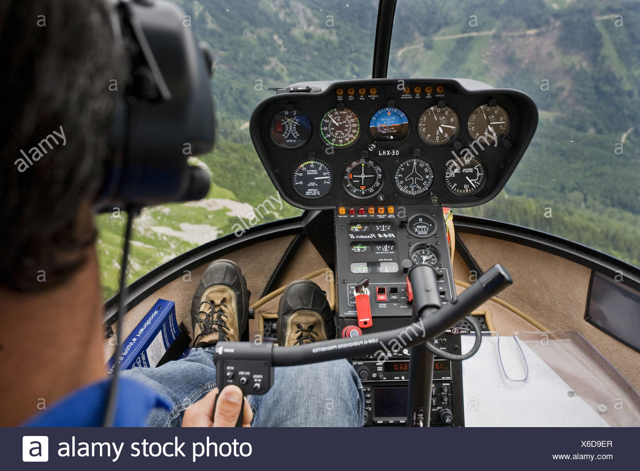 Helicopter, cockpit, pilot, instruments, - Stock Image