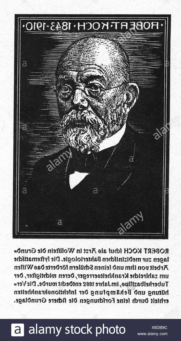 Koch, Robert, 11.12.1843 - 27.5.1910, German medic / physician (bacteriologist), portrait, woodcut, O. Graf, 'Kämpfer für das Leben', C. H. Boehringer Sohn AG, Additional-Rights-Clearances-NA - Stock Image