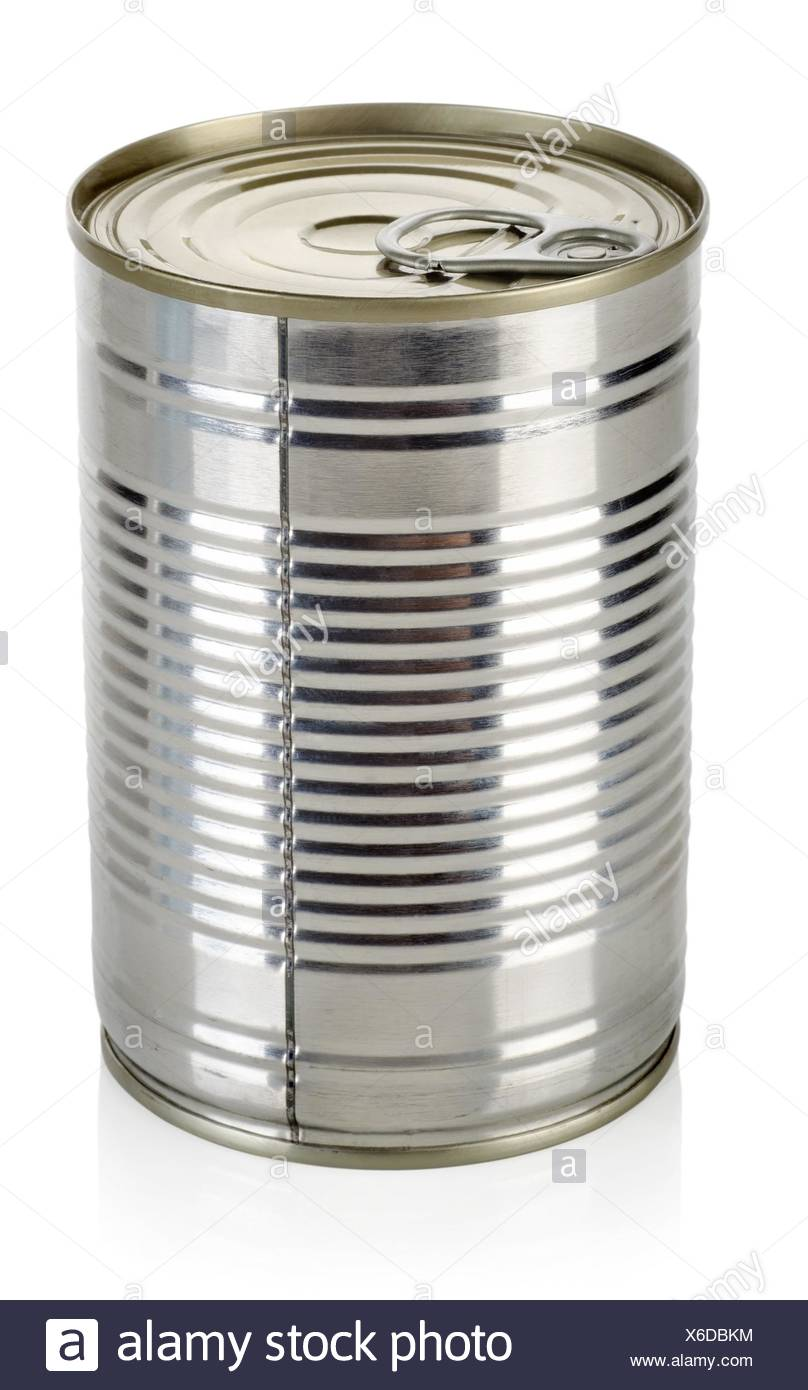 Canned food for animals isolated on a white background. - Stock Image