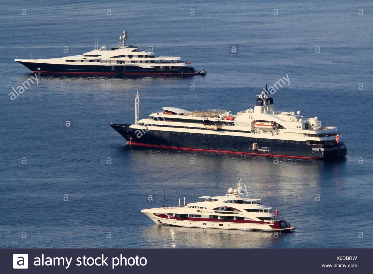 Quinta Essentia, Turama and Attessa, cruisers, French Riviera, France, Europe - Stock Image