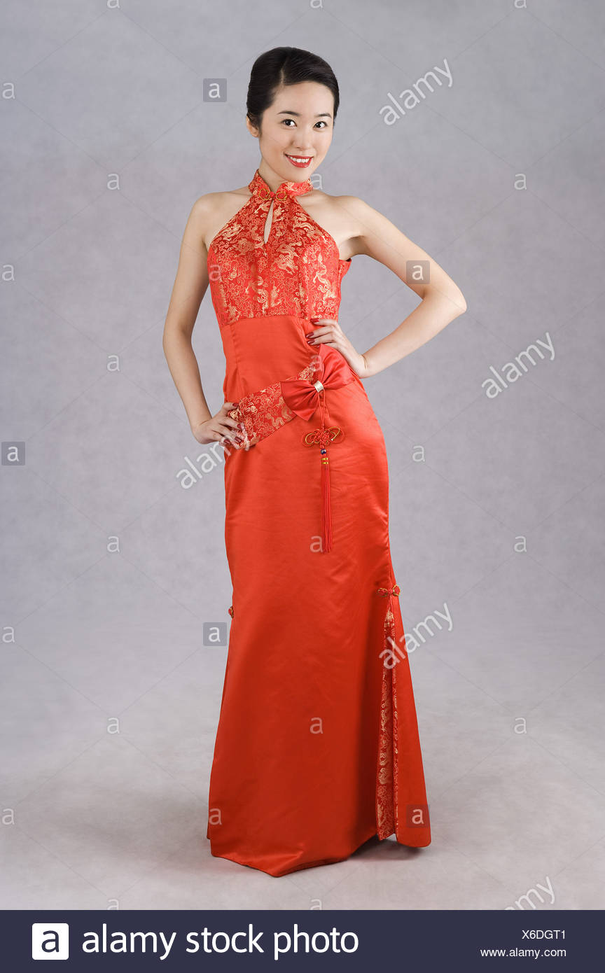 Wearing A Black Silk Evening Gown Stock Photos & Wearing A Black ...