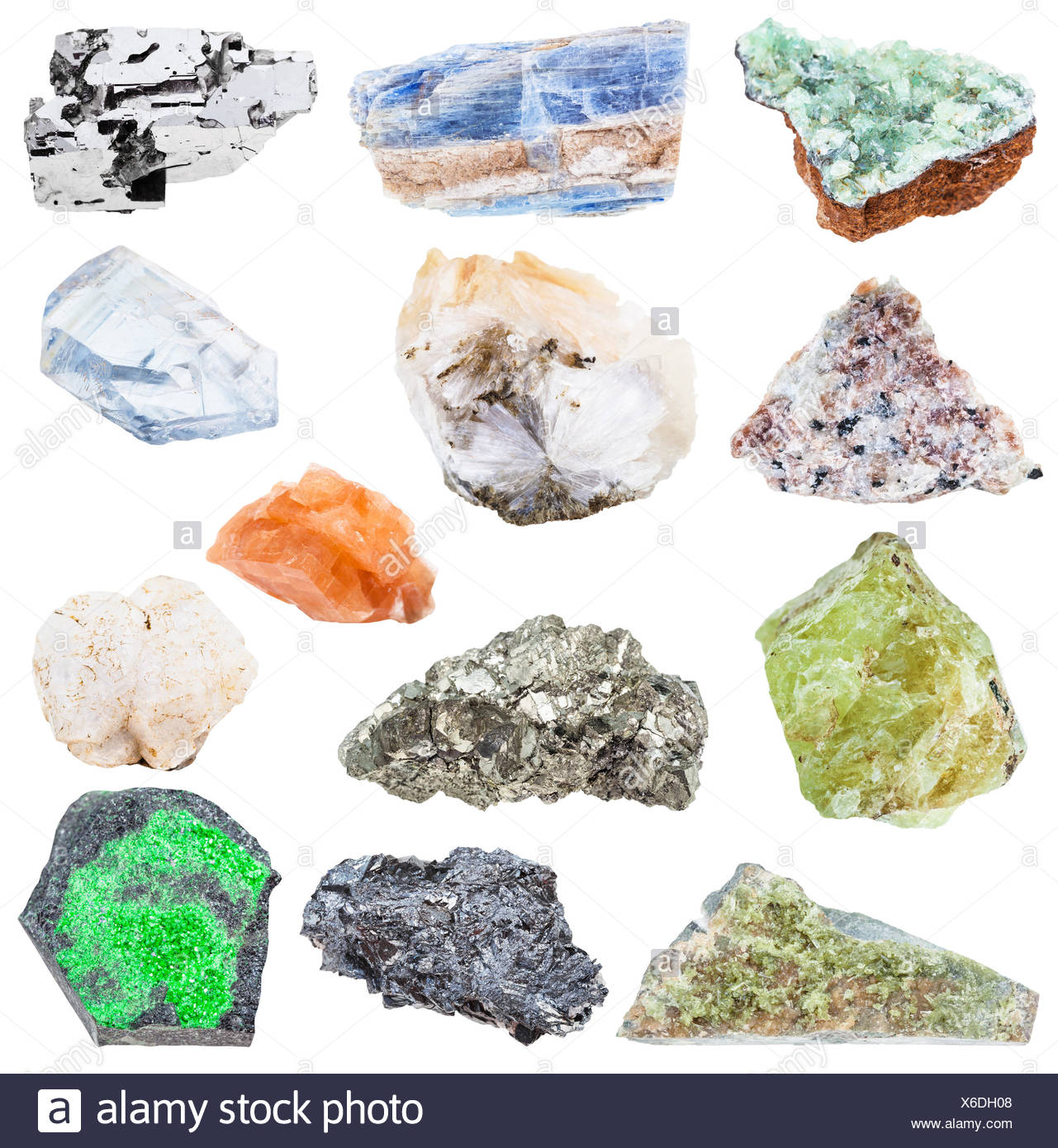 collection of various raw mineral crystals - Stock Image