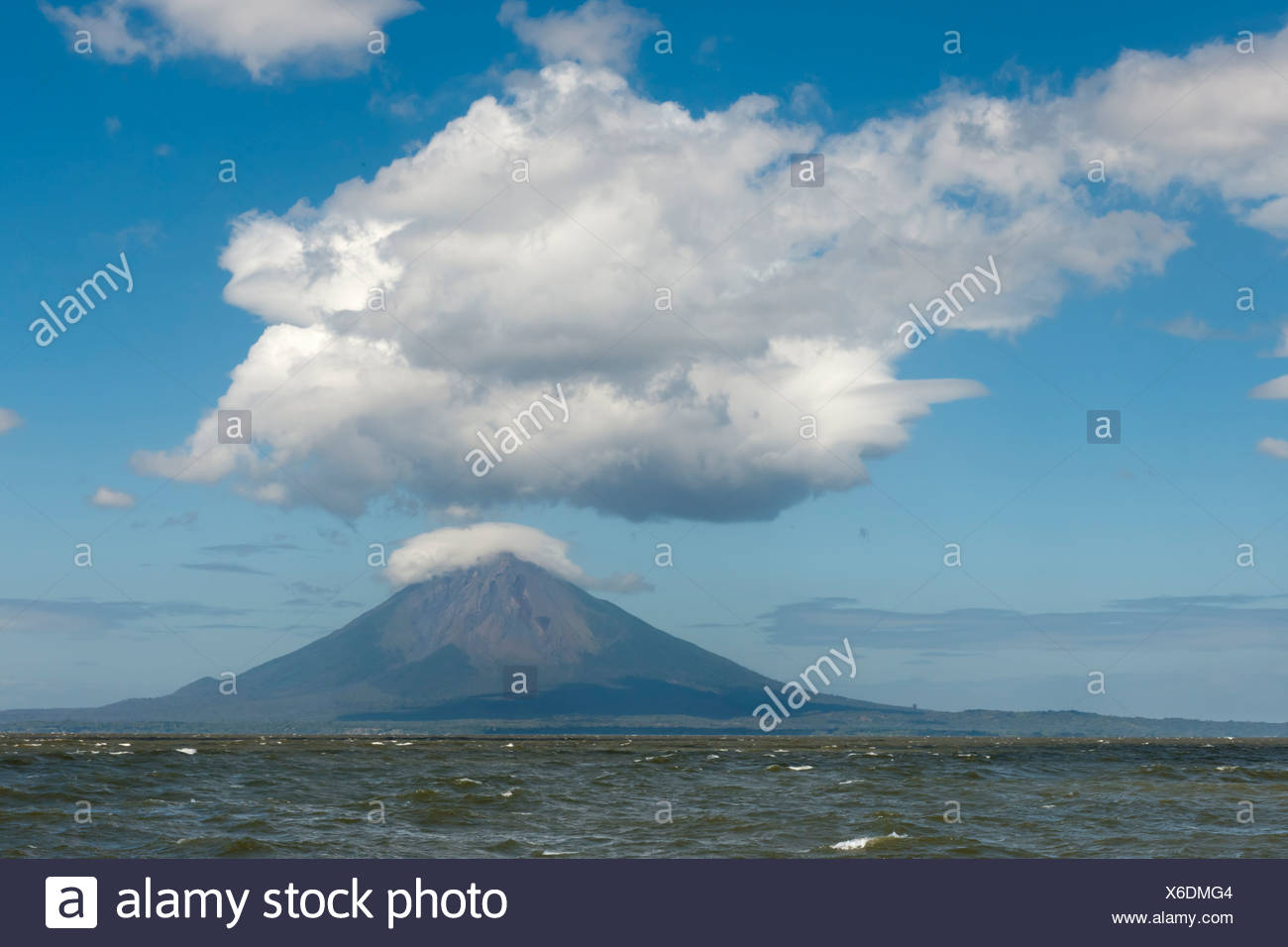 Volcanic island of Ometepe and the stratovolcano Volcán Concepción, 1610m in Lago de Nicaragua, Nicaragua, Central America Stock Photo