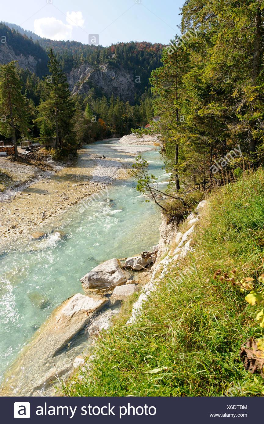 Isar River in the Hinterautal Valley, origin of the Isar River, near Scharnitz, Tyrol, Austria, Europe - Stock Image