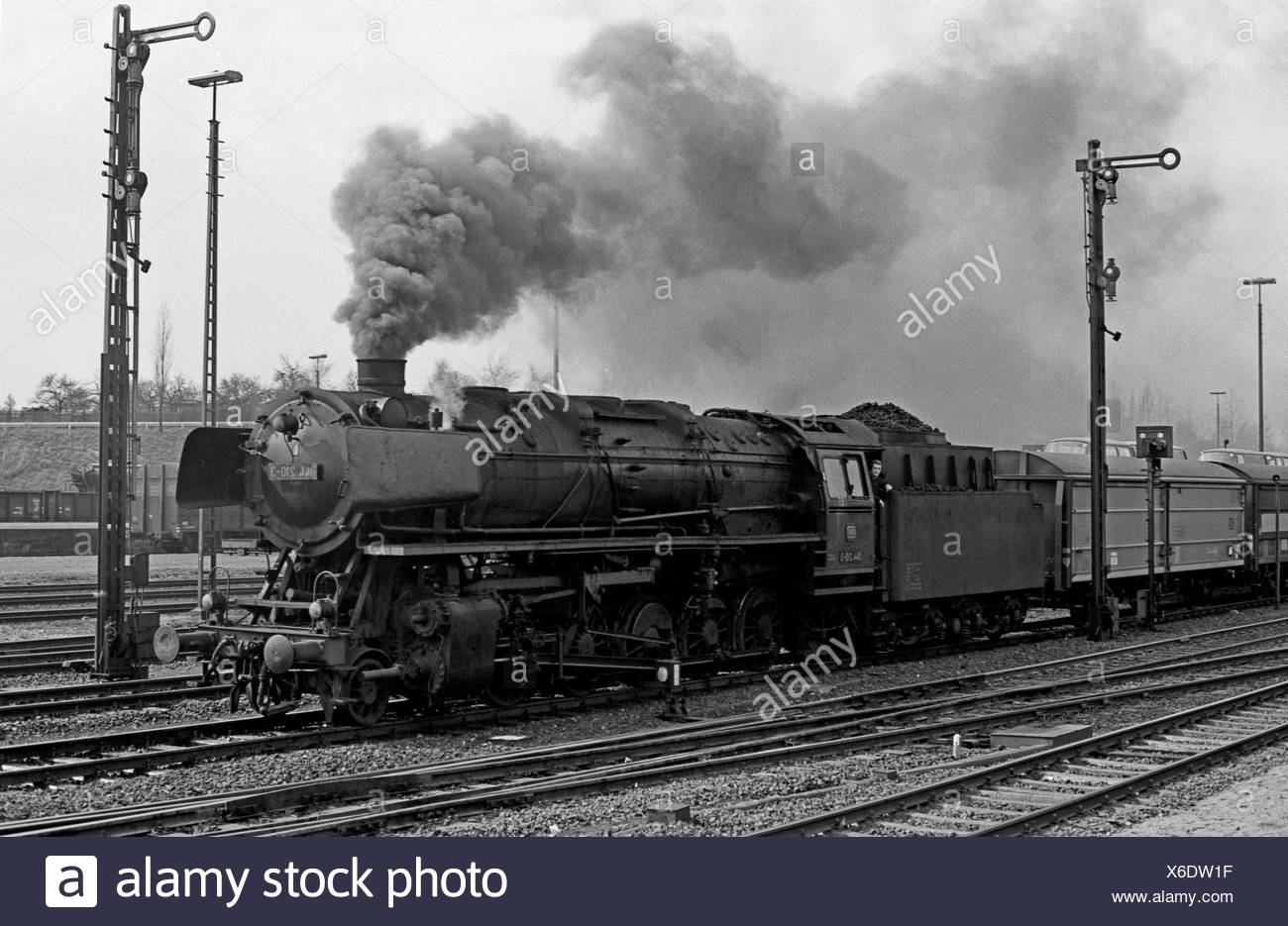 Helmstedt, Germany, the 044 210 with freight train at the heating session - Stock Image