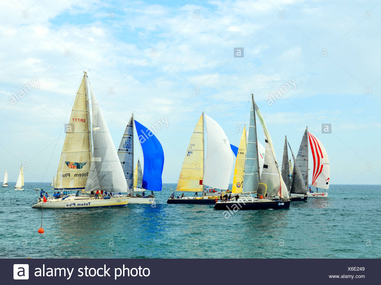 Sailboats in the Mediterranean Sea - Stock Image