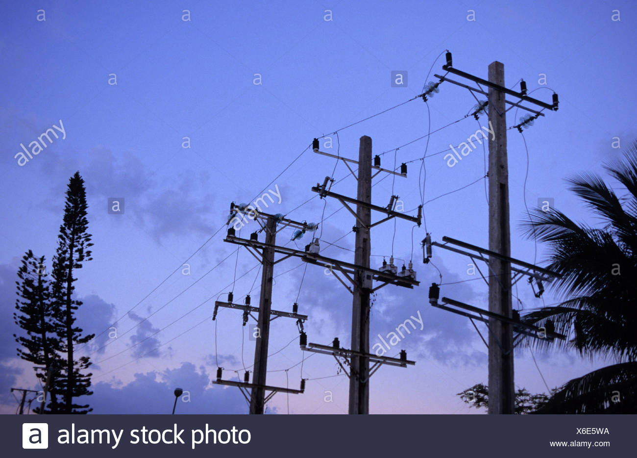 Power poles in the blue hour Stock Photo