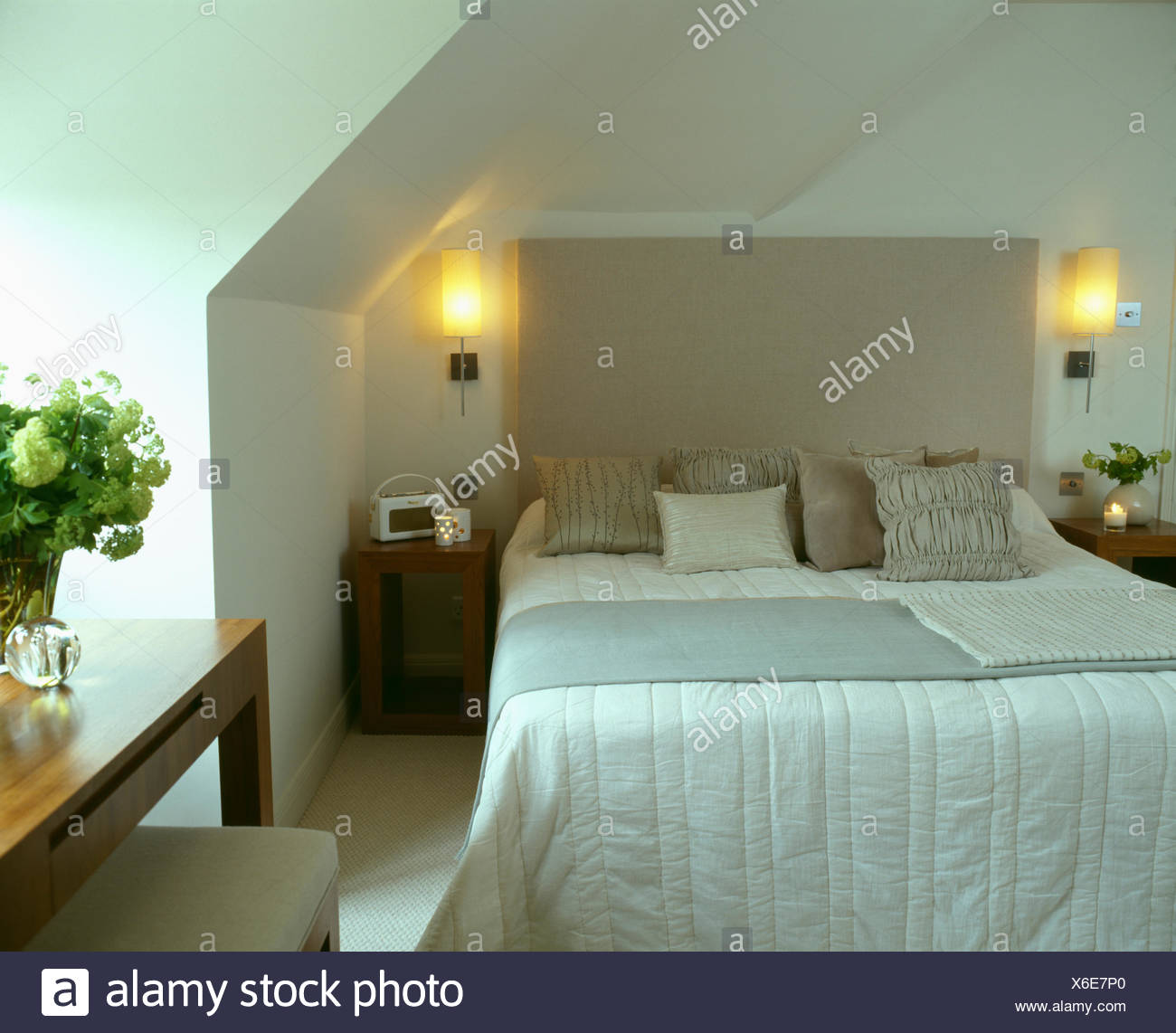 attic lighting. Lighted Wall-lights On Either Side Of Bed With Upholstered Head-board Attic Lighting N