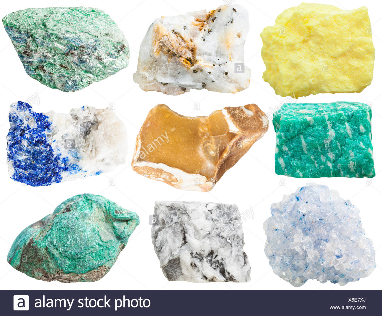 collection of different mineral rocks and stones - Stock Image