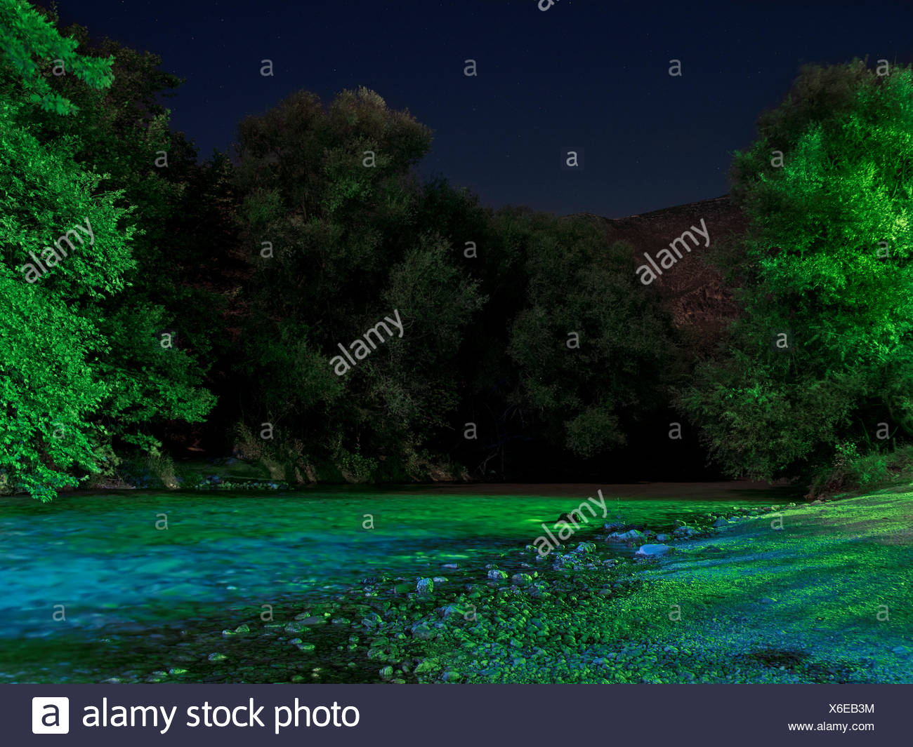 Ancient Greeks believed Charon the ferryman took souls to Hades across the Acheron River. - Stock Image