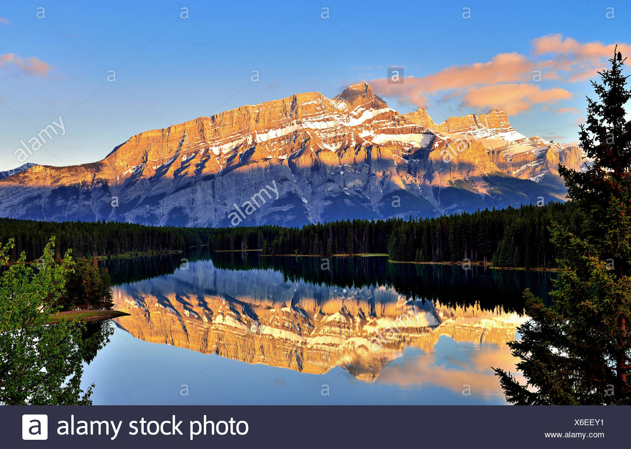 Canada, Banff, View of Two Jack Lake and Mt Rundle - Stock Image