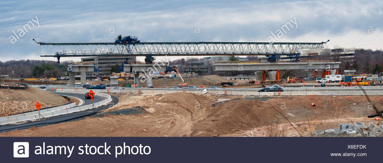 Construction of a Metro Rail train line in Virginia. - Stock Image