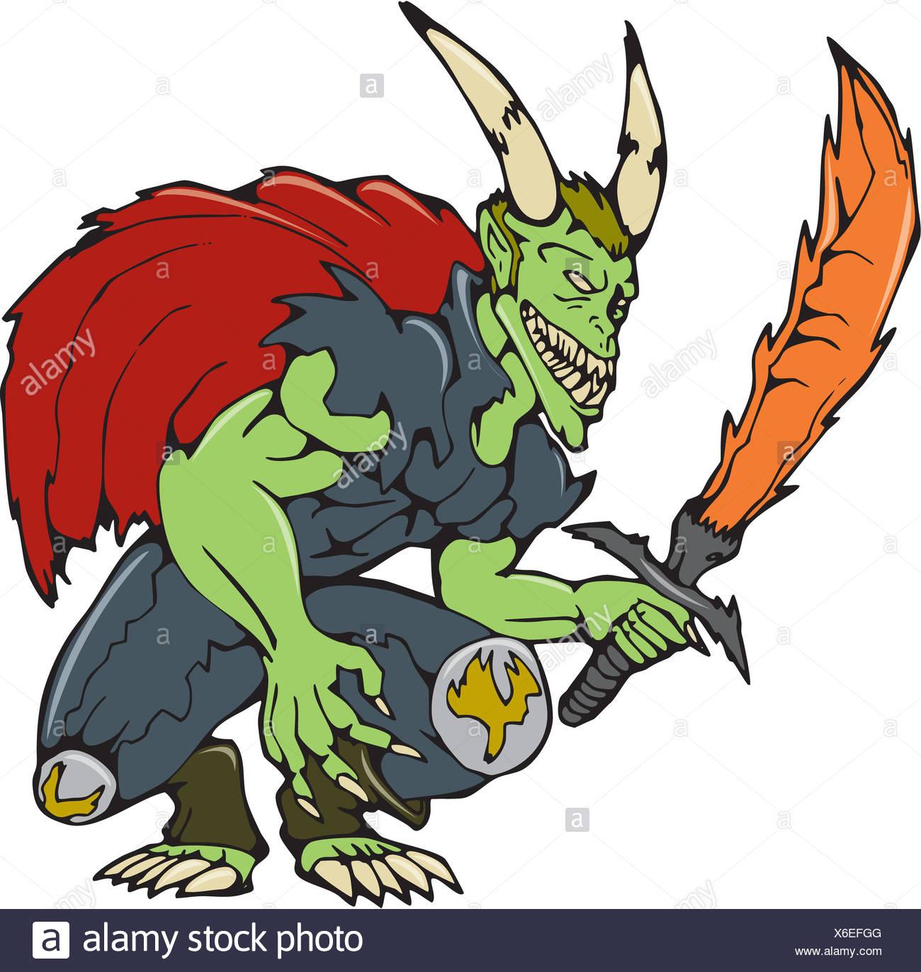 Demon Wield Fiery Sword Cartoon - Stock Image