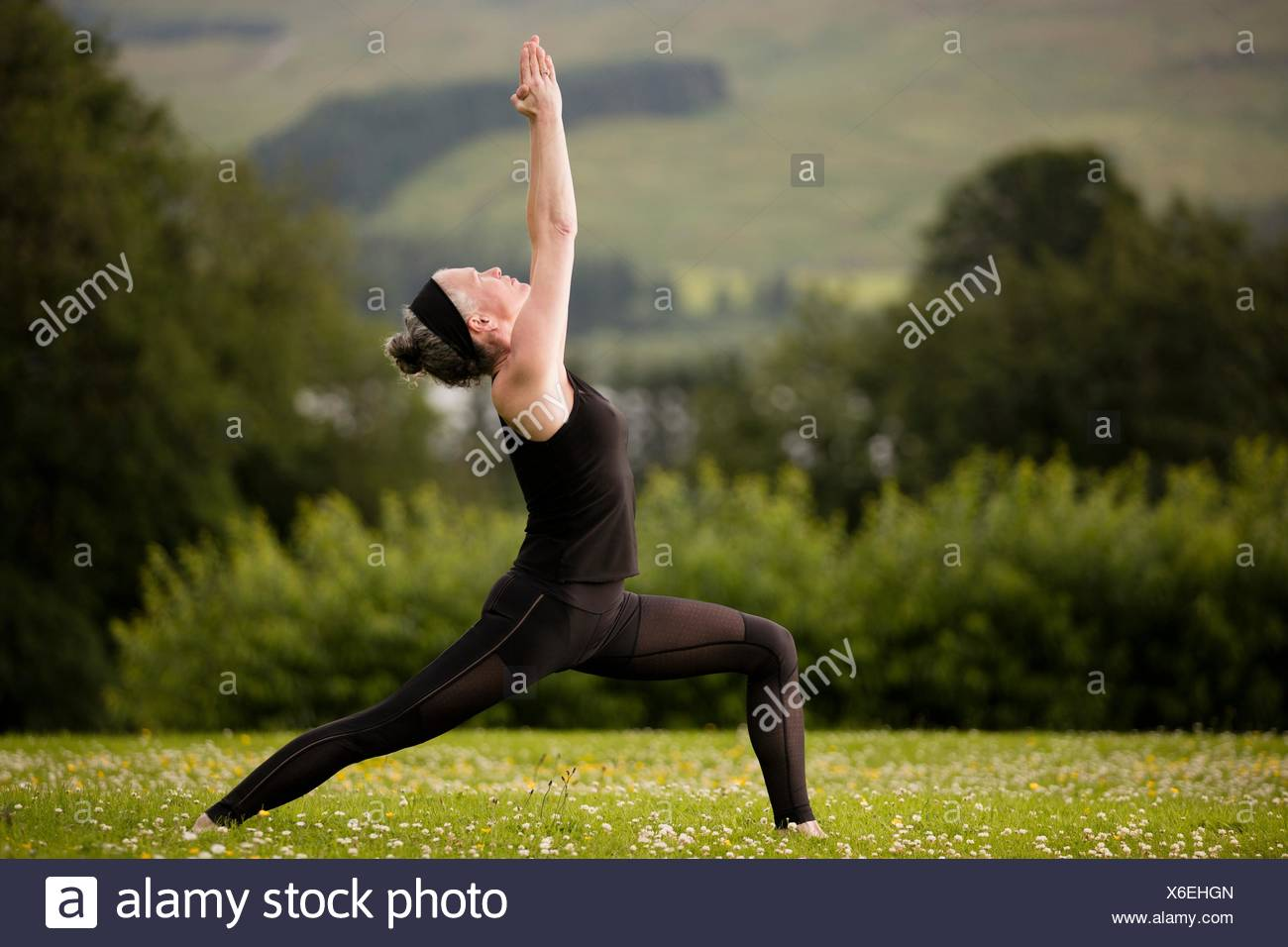 Mature woman practicing yoga warrior pose with arms raised in field - Stock Image