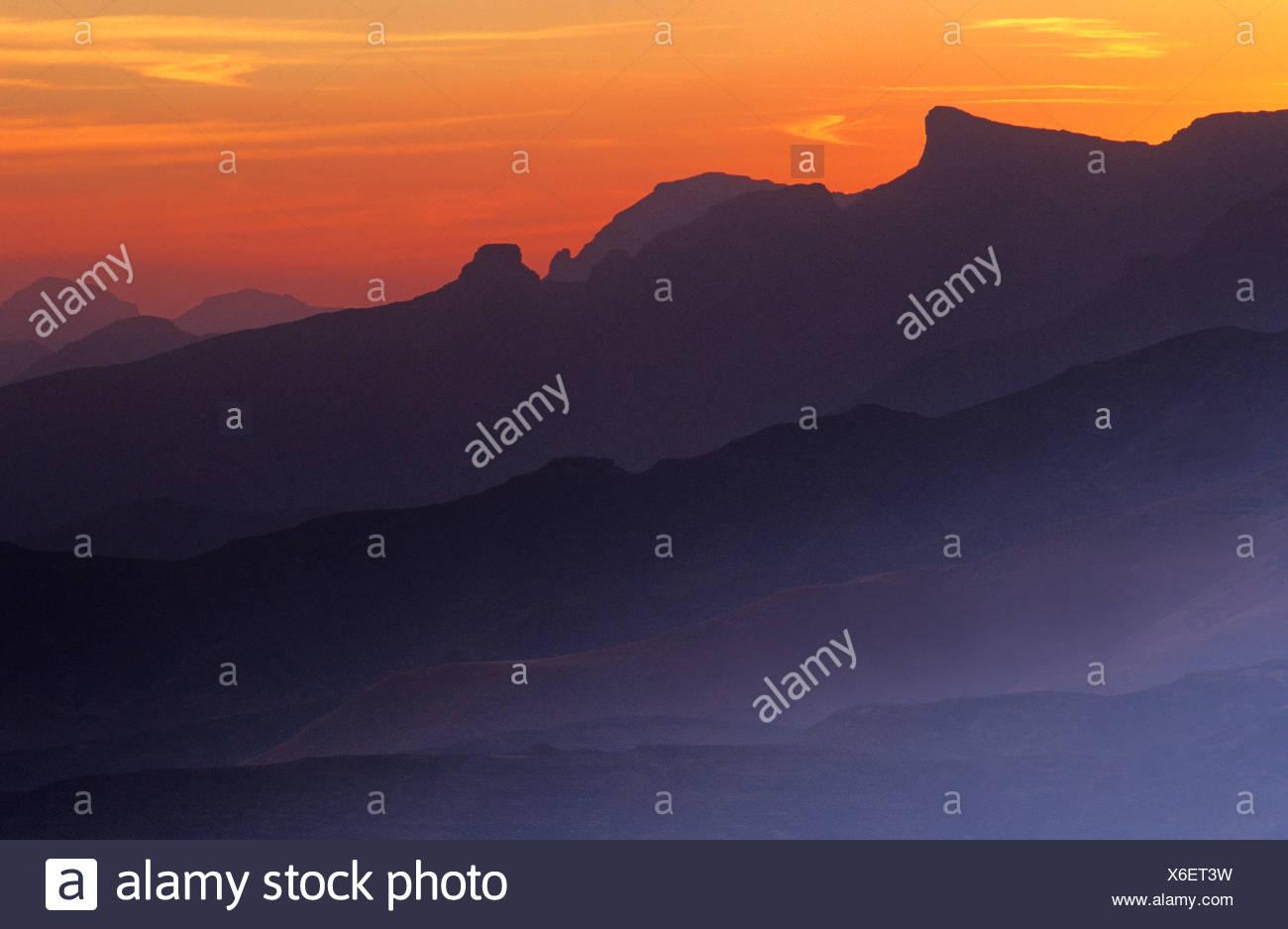 Drakensberg Mountains at dusk, KwaZulu-Natal, South Africa - Stock Image