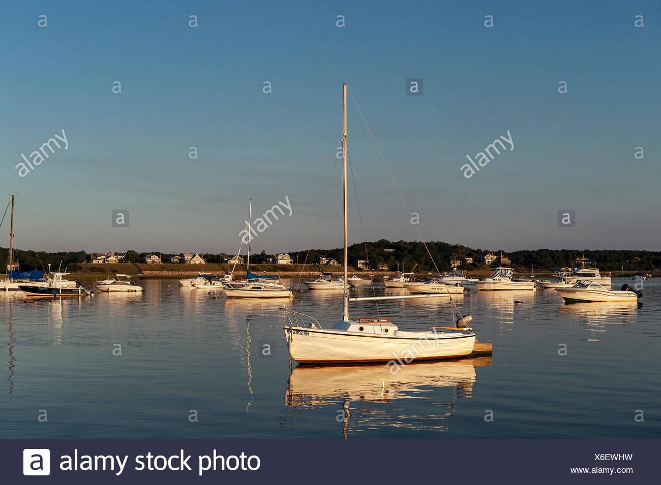 Sailboat, Wellfleet, Cape Cod, Massachusetts, USA - Stock Image