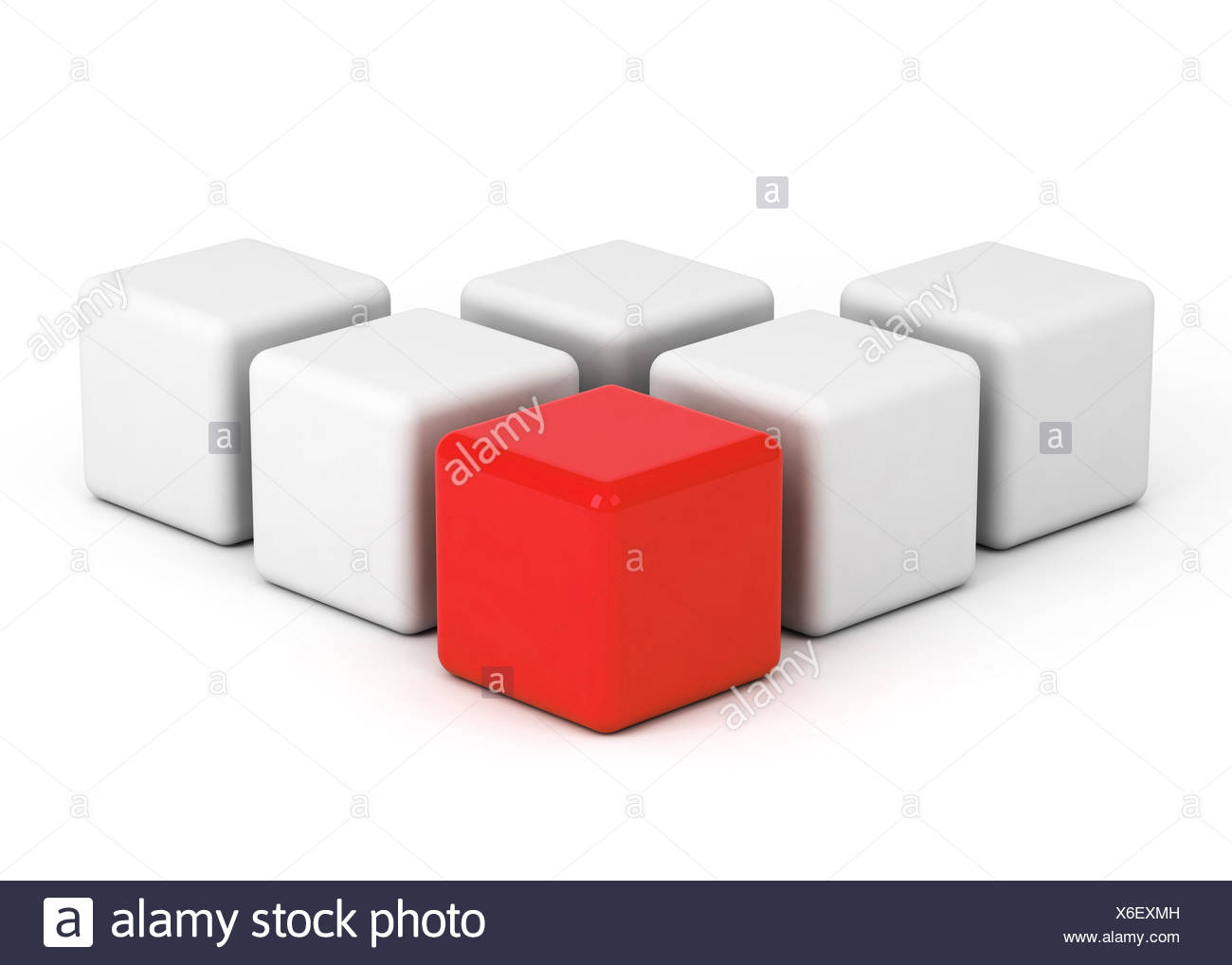 bright red box leadership - Stock Image
