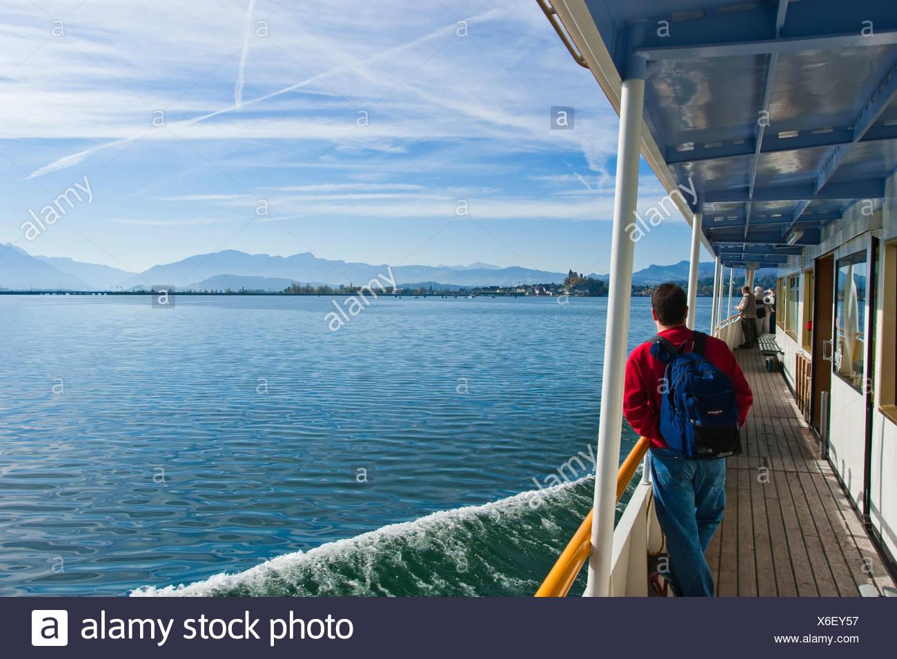 Tourist ship, Lake Zurich, Glarus Alps, Zurich, Switzerland, Europe - Stock Image