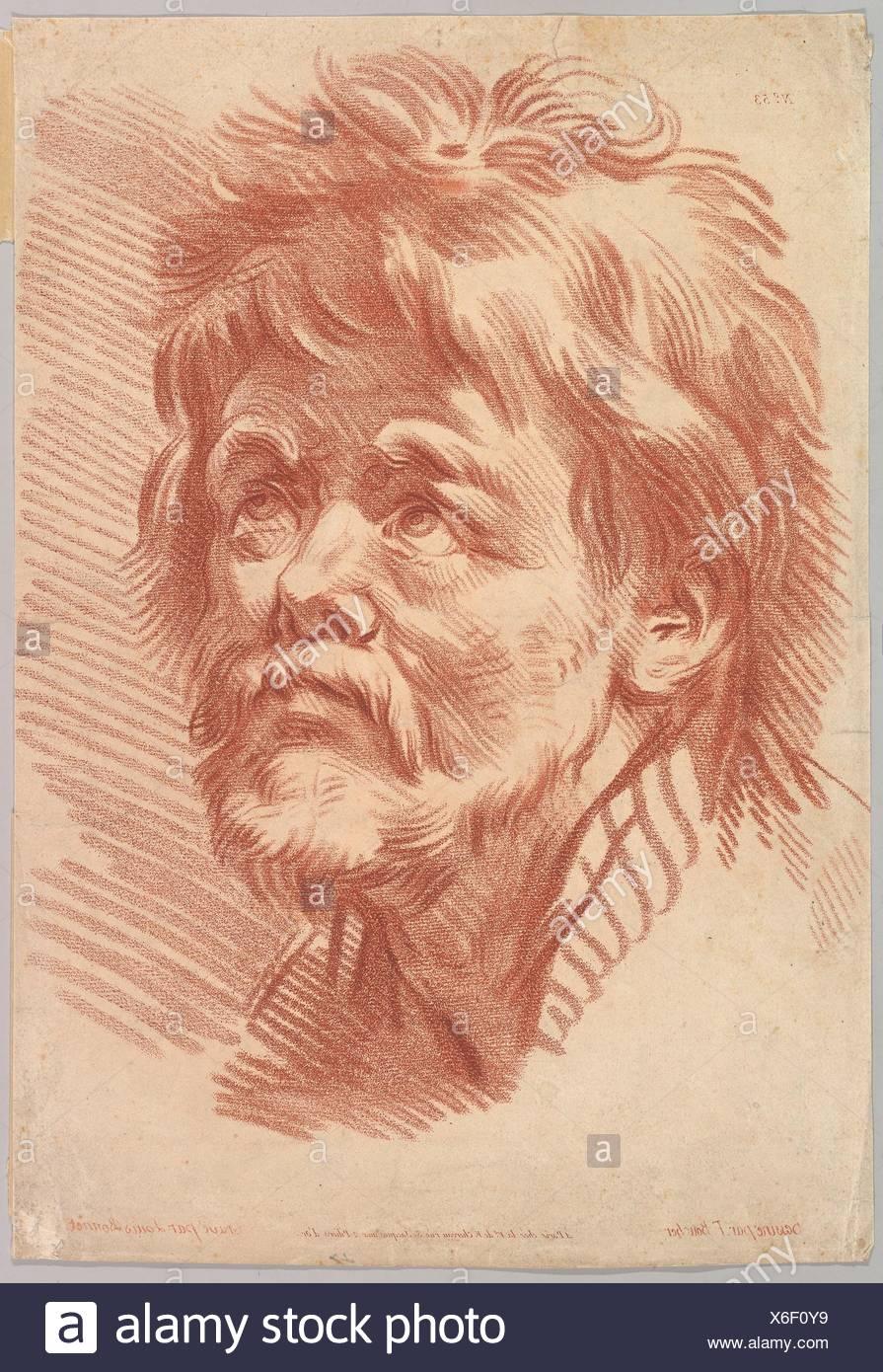 Head of an Old Man. Artist: Louis Marin Bonnet (French, Paris 1736-1793 Saint-Mandé, Val-de-Marne); Artist: After François Boucher (French, Paris - Stock Image